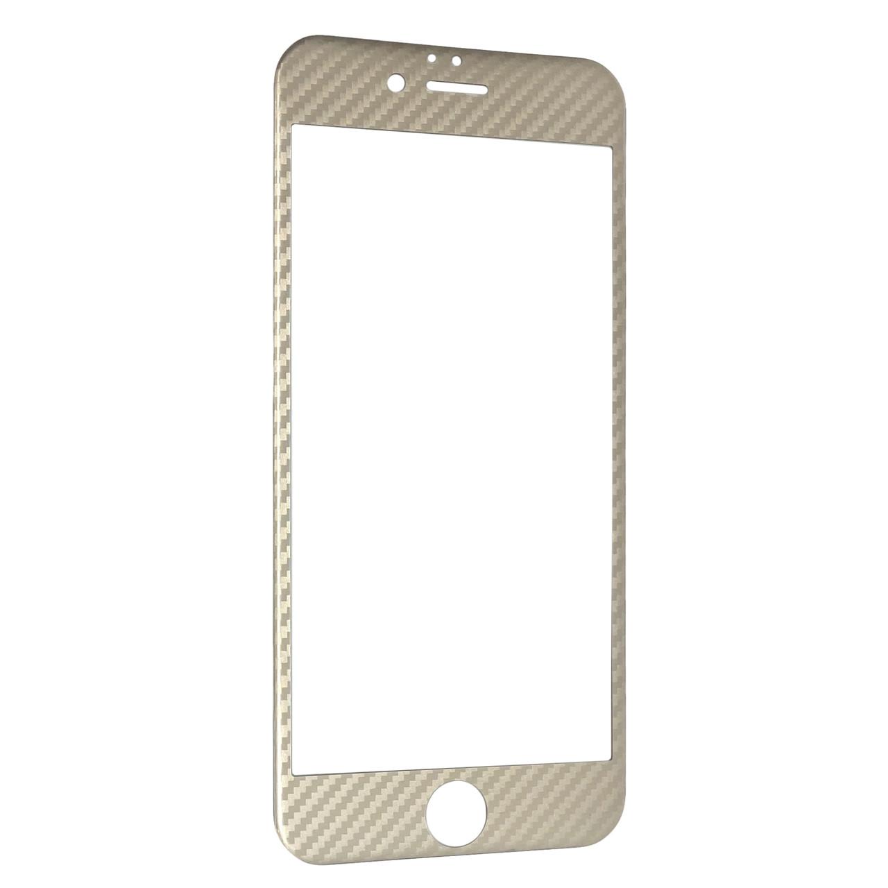 Защитное стекло  for Apple iPhone 6/6S carbon плоский face gold