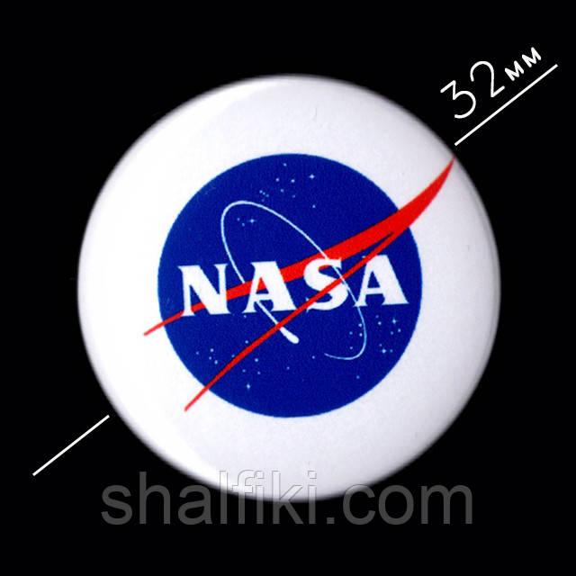 """NASA / НАСА"" значок круглый на булавке, Ø32 мм"