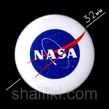 """НАСА / NASA"" значок круглый на булавке Ø32 мм"