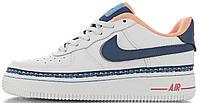 Женские кроссовки Nike Air Force 1 Low Swoosh Chain Pack White Найк Аир Форс низкие кожаные белые