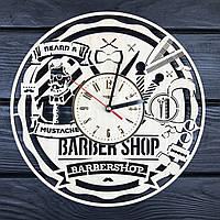Дизайнерские настенные часы из дерева «Мужская парикмахерская», фото 1