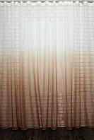 """Тюль растяжка """"Омбре"""" на батисте (под лён) с утяжелителем, цвет светло-кориневый с белым 509т"""