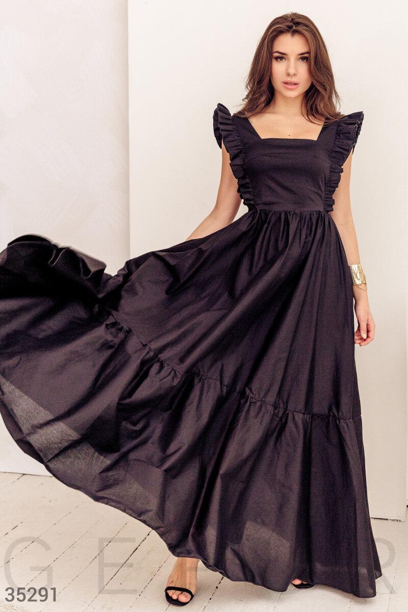 Коттоновое платье макси с оборками черное