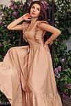 Коттоновое платье макси с оборками бежевое, фото 2