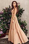 Коттоновое платье макси с оборками бежевое, фото 4