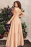 Коттоновое платье макси с оборками бежевое, фото 5