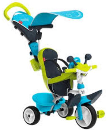 Детский велосипед Smoby Baby Driver comfort с козырьком и багажником зелено-голубой (741200)