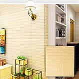 Самоклеющаяся декоративная 3D панель под бежевый кирпич 700x770x5мм Os-BG09, фото 7