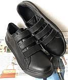 Mante! Брендовые кожаные черные женские туфли на липучках кроссовки слипоны кеды, фото 2