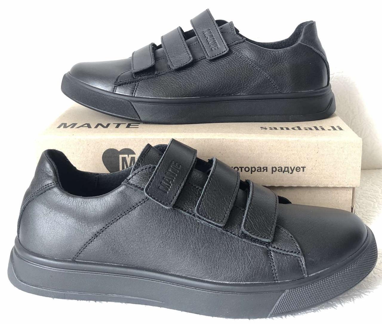Mante! Брендовые кожаные черные женские туфли на липучках кроссовки слипоны кеды