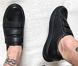 Mante! Брендовые кожаные черные женские туфли на липучках кроссовки слипоны кеды, фото 9