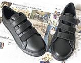 Mante! Брендовые кожаные черные женские туфли на липучках кроссовки слипоны кеды, фото 7