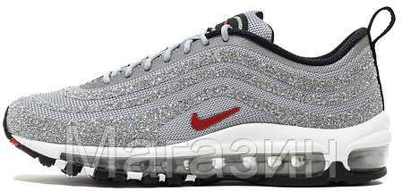 Женские кроссовки Nike Air Max 97 Swarovski Silver 927508-002 Найк Аир Макс 97 в стиле серебристые, фото 2