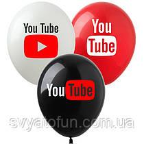 """Латексные шарики """"YouTube"""" бел/кр/черн YT-1 12"""" 100шт ArtShow"""