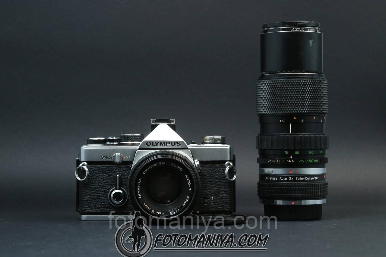 Olympus OM-2n kit Zuiko 50mm f1.8 + Zuiko 75-150mm f4.0 + teleconverter