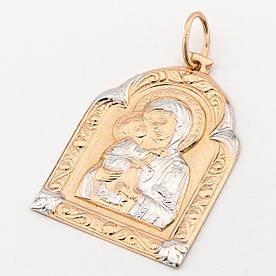"""Золотая ладанка """"Пресвятая Богородица"""" КР13079 Диамант"""