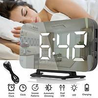 Настольные Электронные LED Зеркальные часы  DS-3625 Черные с Белой подсветкой