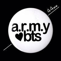 """""""Army BTS / БТС"""" значок круглый на булавке, Ø44 мм"""