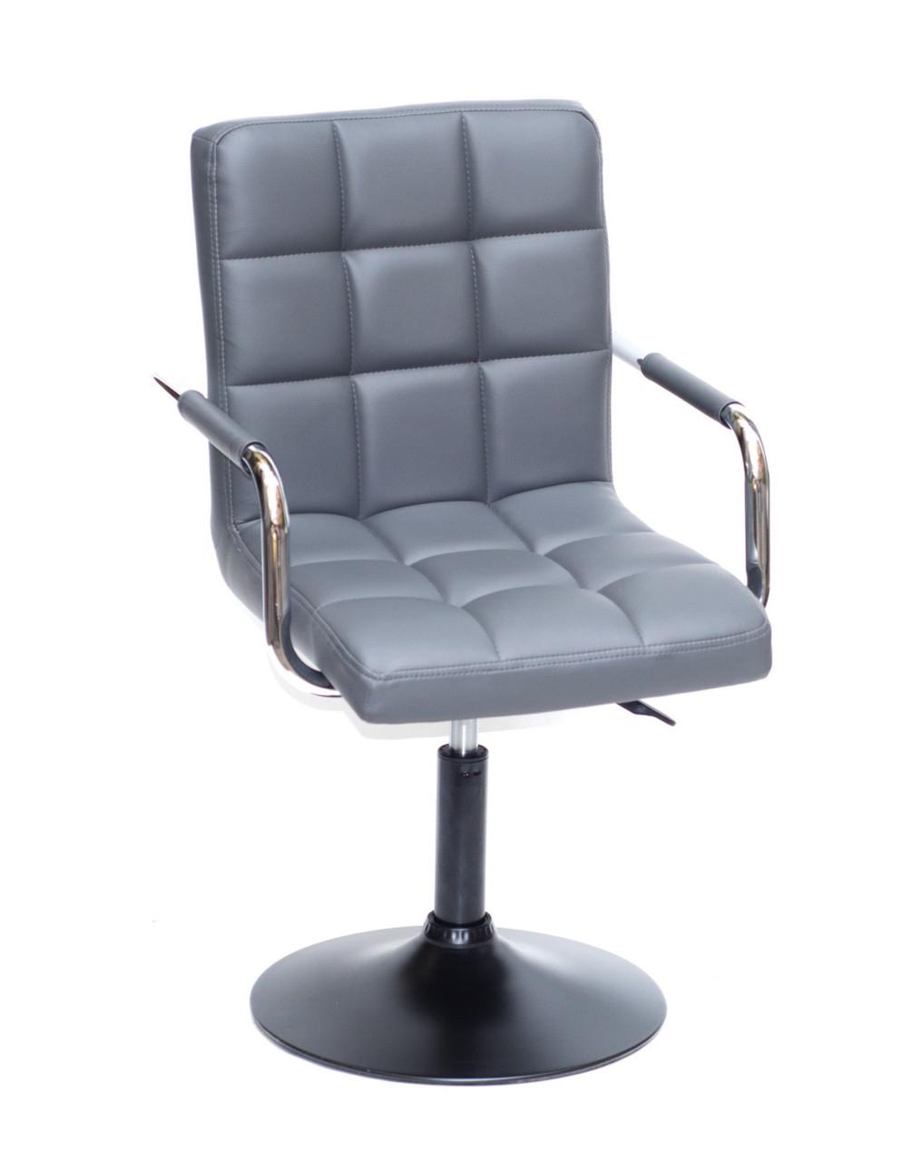 Кресло парикмахера Augusto (Августо) ВК-BASE серая экокожа на  диске с подлокотниками