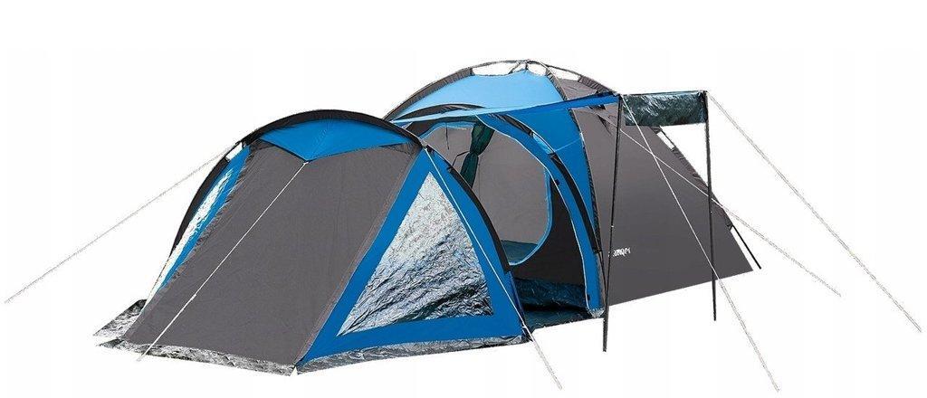 Палатка Presto Acamper SOLITER 4 PRO  4-х местная (палатка для отдыха, 3500 мм, вес 5,3) серо-синяя