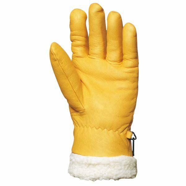 Перчатки кожаные утепленные с искусственным мехом, желтые ISLANDE