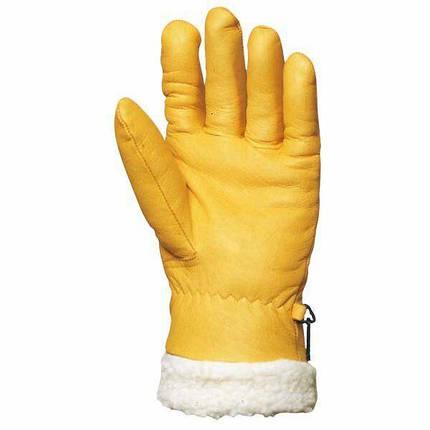 Перчатки кожаные утепленные с искусственным мехом, желтые ISLANDE, фото 2