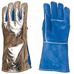 Термостойкие перчатки с крагой спилковые покрытые алюминиевой фольгой