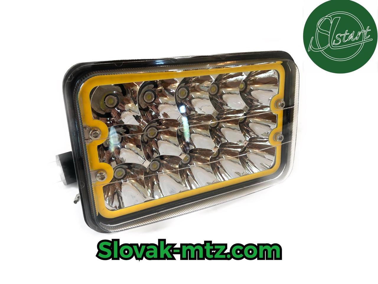 Светодиодная LED фара 45Вт прямоугольная с ангельским глазом 45W, 15 ламп, дальний и ближний луч 10/30