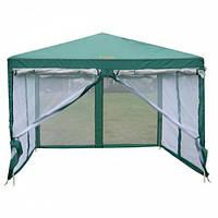 Палатка, шатер туристический, садовый с москитной сеткой GreenCamp, 3х3 метра, цвет зеленый +Подарок