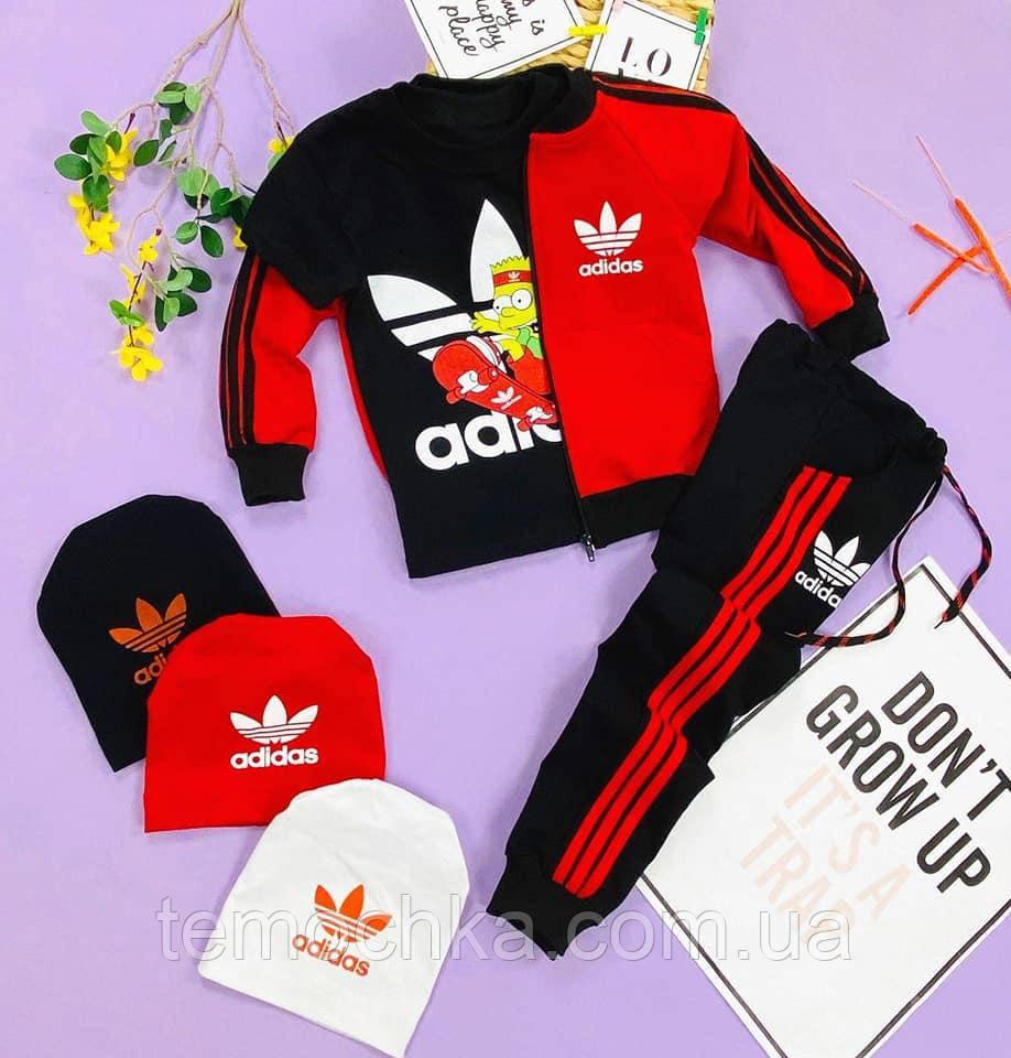 Черный с красным спортивный костюм комплект для мальчика Adidas Адидас