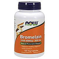 Бромелайн 500 мг 120 капс 2400 GDU противовоспалительные ферменты энзимы от аллергии  астмы Now Foods USA