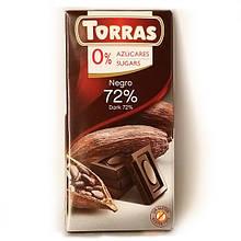 Шоколад чорний без цукру 72% 75г ТМ Torras