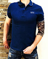 Мужская футболка синяя Поло Hugo Boss classic blue