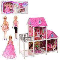 Двухэтажный кукольный домик для Барби, в комплекте 3 куклы