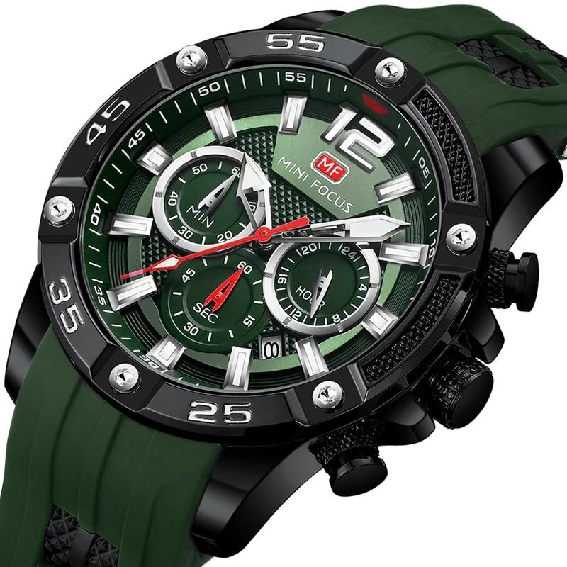 Наручні чоловічі кварцові годинники Mini Focus MF0349G Green-Black