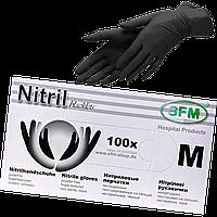 """Перчатки нитриловые текстурированные черные M """"SFM"""" 1уп/100шт, фото 1"""