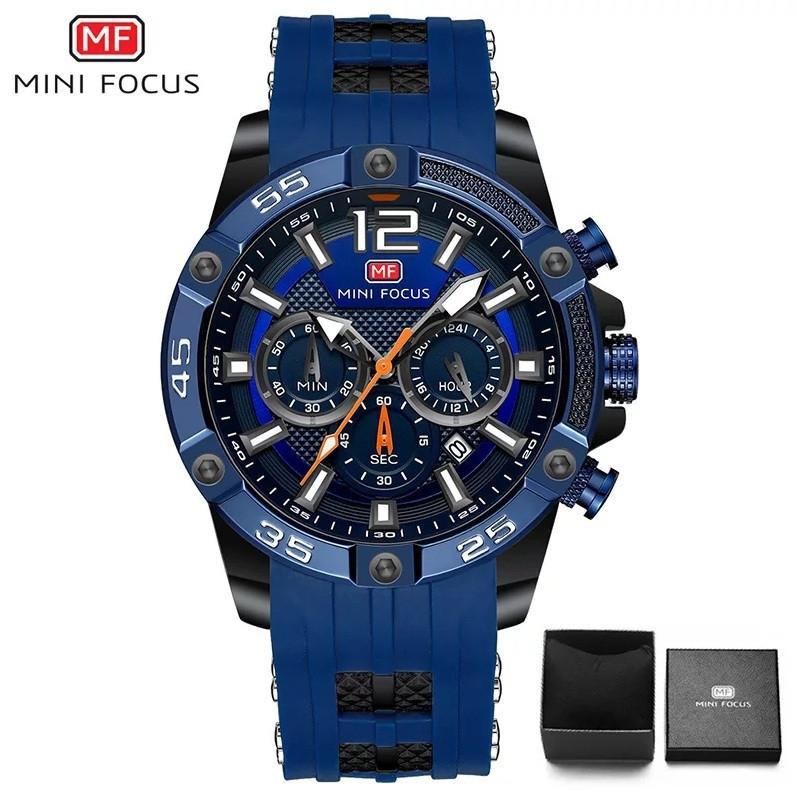 Наручні чоловічі кварцові годинники Mini Focus MF0349G Blue-Black