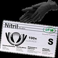 """Перчатки нитриловые текстурированные черные S""""SFM""""1уп/100шт, фото 1"""