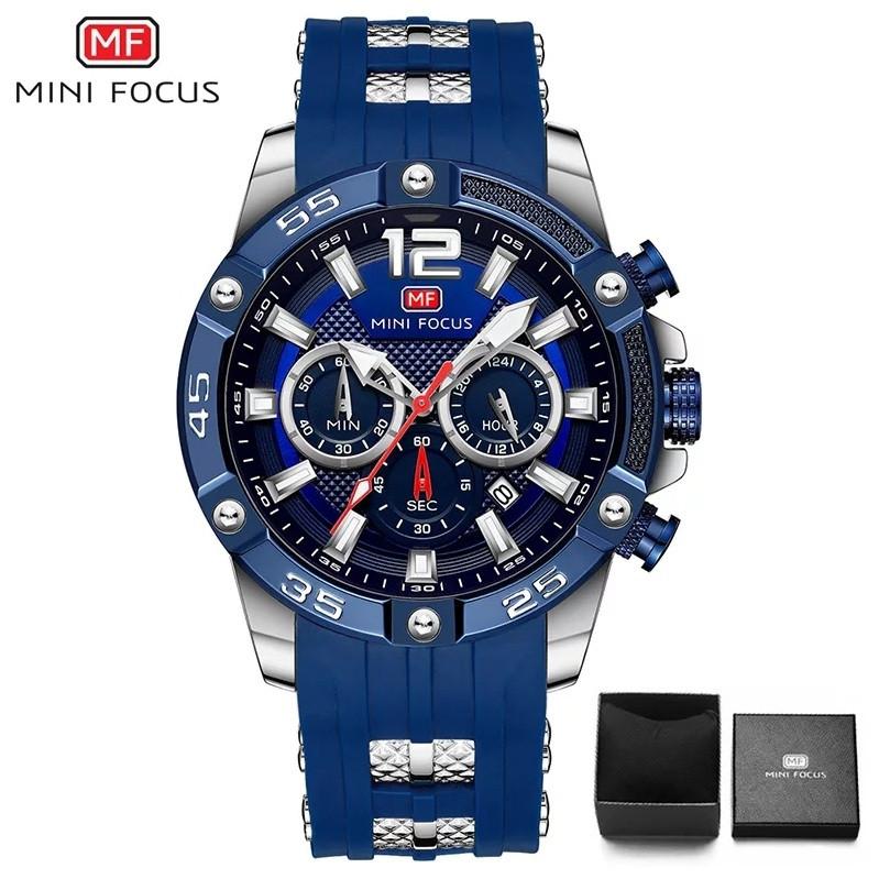 Наручні чоловічі кварцові годинники Mini Focus MF0349G Blue-Silver