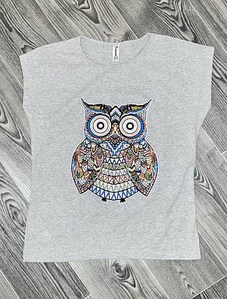 Женская футболка сова серая, фото 2