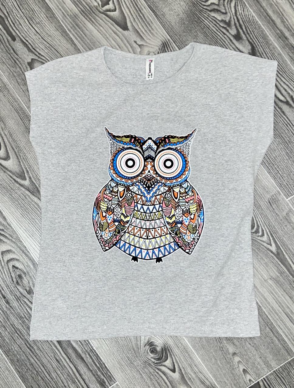 Женская футболка сова серая