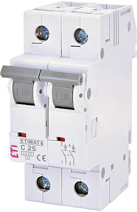 Автоматический выключатель 2p C 25А ETIMAT 6 kA, ETI, фото 2