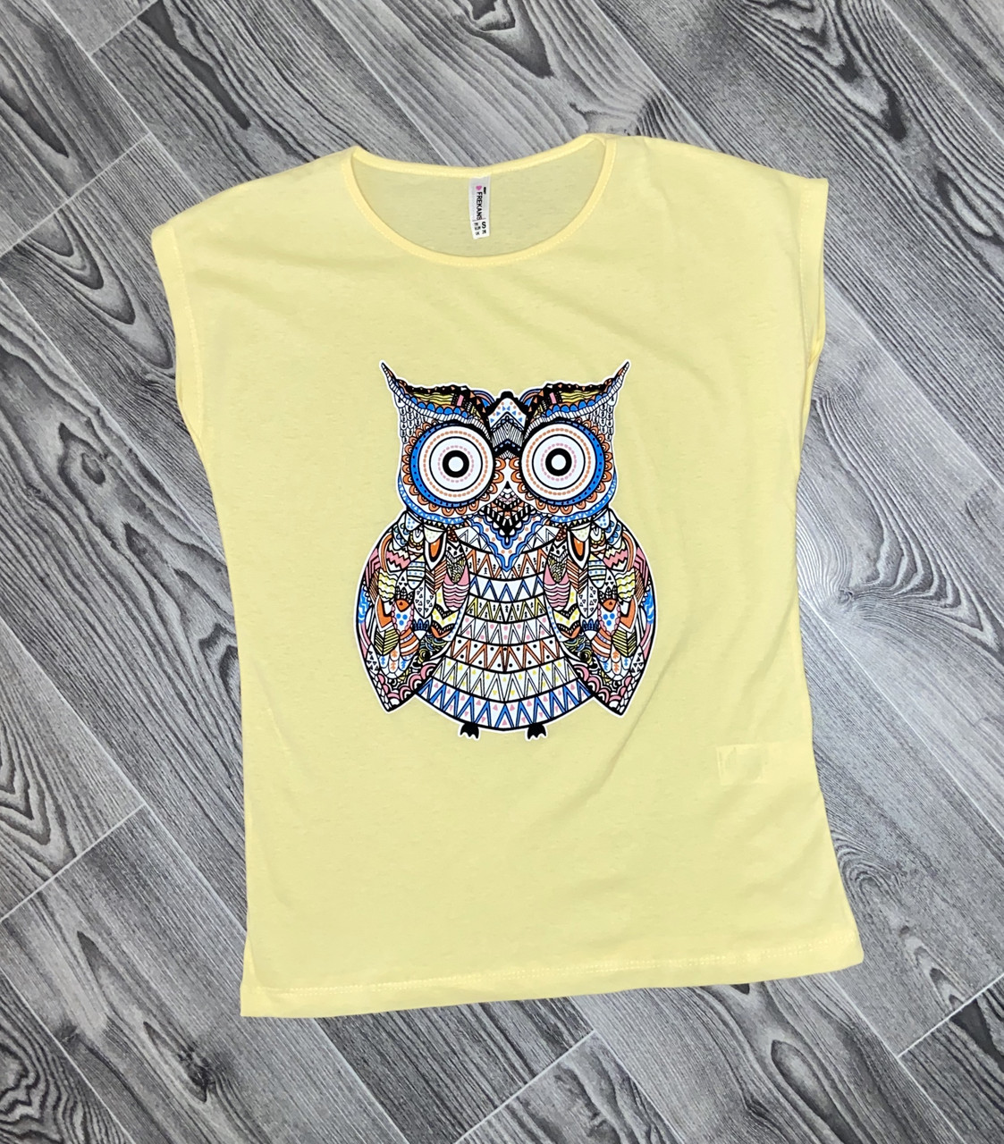 Женская футболка сова желтая