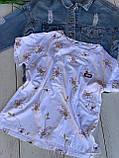 Футболка женская летняя из натуральной ткани хлопок, мелкие цветочки р.42-46 код 749Г, фото 7