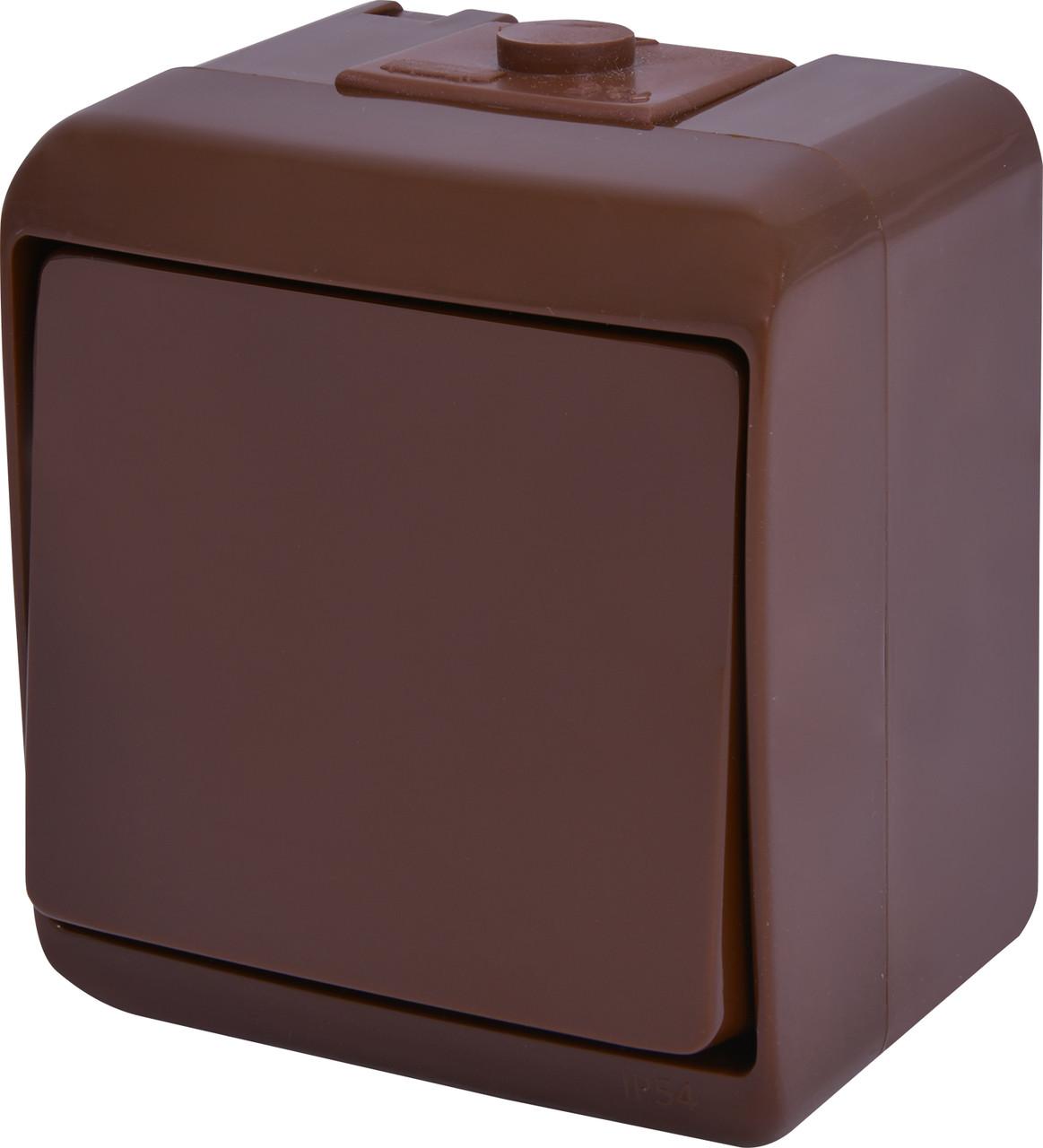 Выключатель 1-клавишный VHE-1-KR (коричневый IP54) ETI