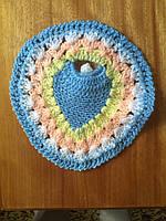 Мочалка вязанная ручной работы (Турция) круглая голубая