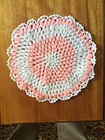 Мочалка вязанная ручной работы (Турция) круглая бледно оранжевая