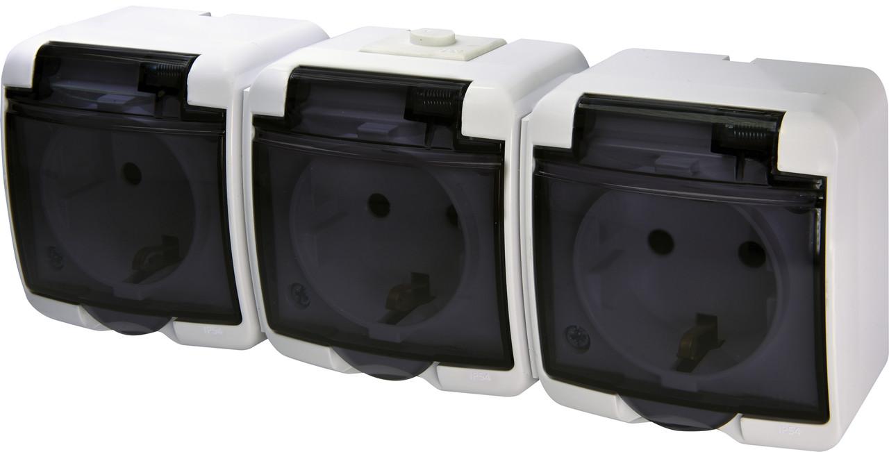 Розетка 3-ая с з/к Schuko RHE-3sd (белая/прозрачная крышка IP44) ETI