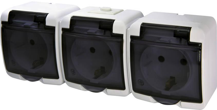 Розетка 3-ая с з/к Schuko RHE-3sd (белая/прозрачная крышка IP44) ETI, фото 2