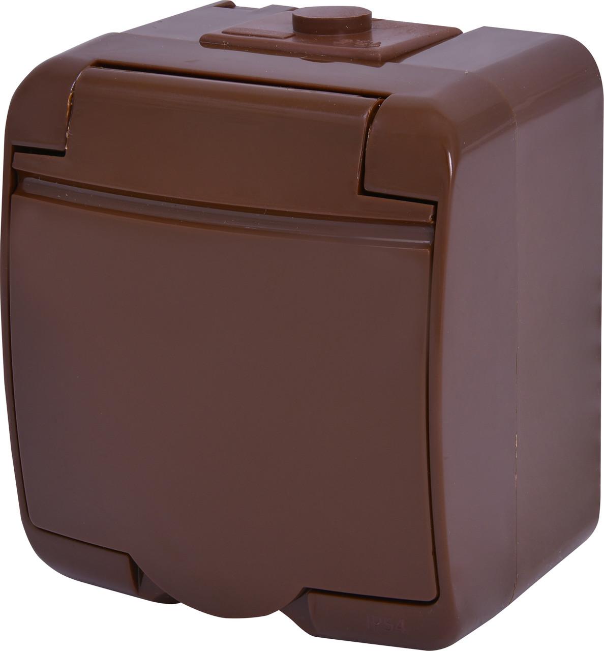 Розетка 1-ая с з/к Schuko RHE-1s-KR (коричневый/коричневая крышка IP44) ETI